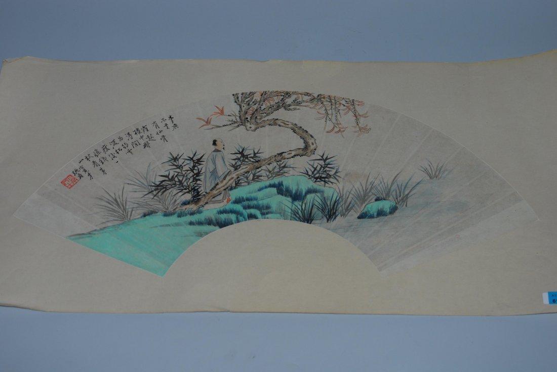 Fächermalerei China. Tusche und Farbe auf Papier.