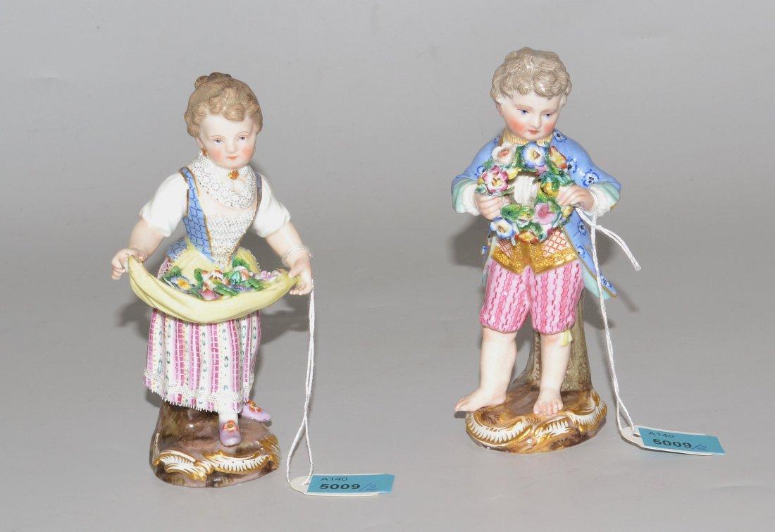 Figurenpaar, Meissen Um 1900. Mädchen und Knabe mit