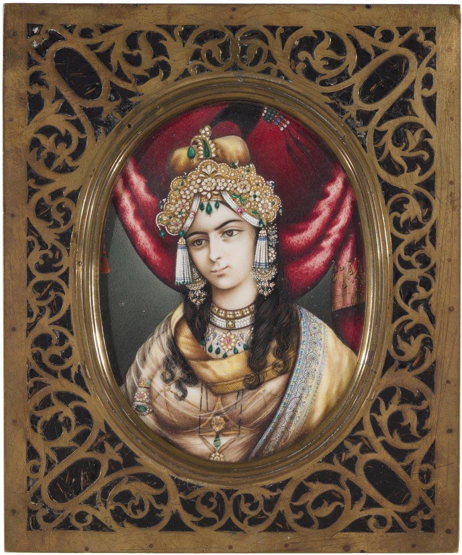 Miniatur Indien, Mitte 19.Jh. Farbe auf Elfenbein.