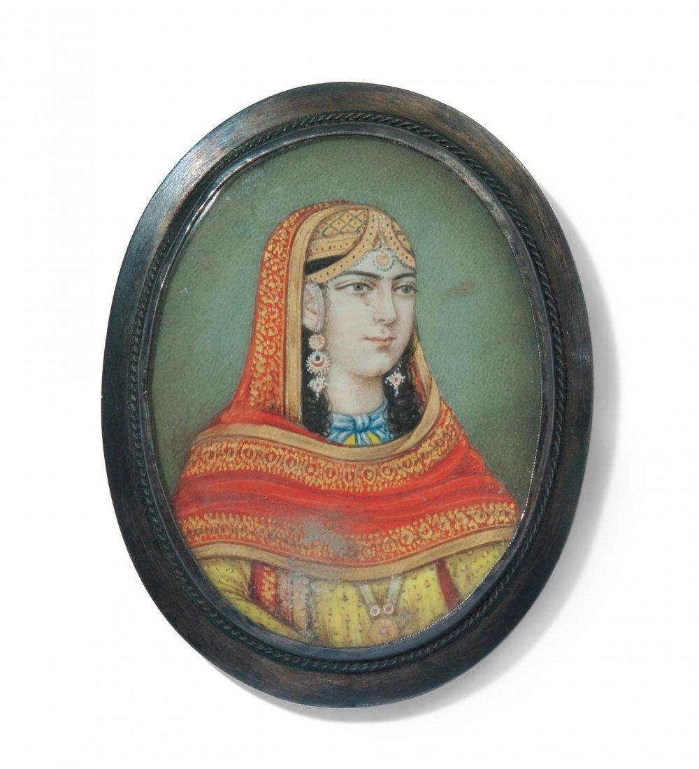 Miniatur als Brosche Indien, Mitte 19.Jh. Farbe auf