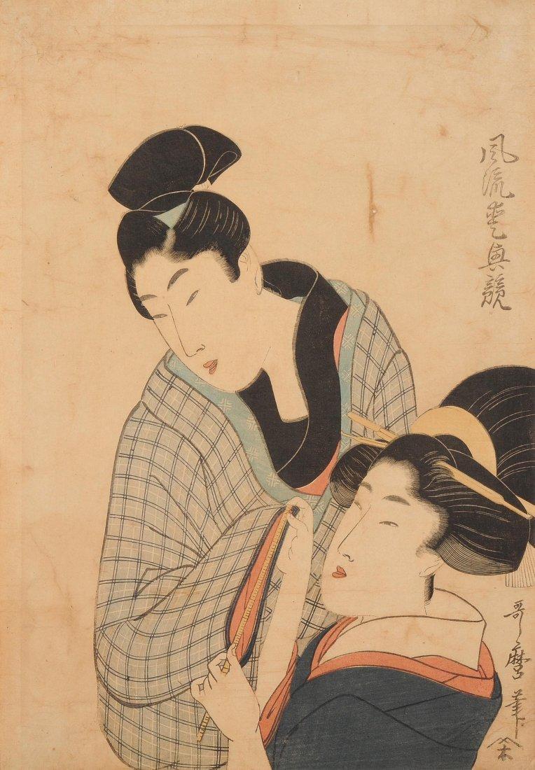Utamaro (1753–1806) Signiert Utamaro hitsu. Kurtisane,