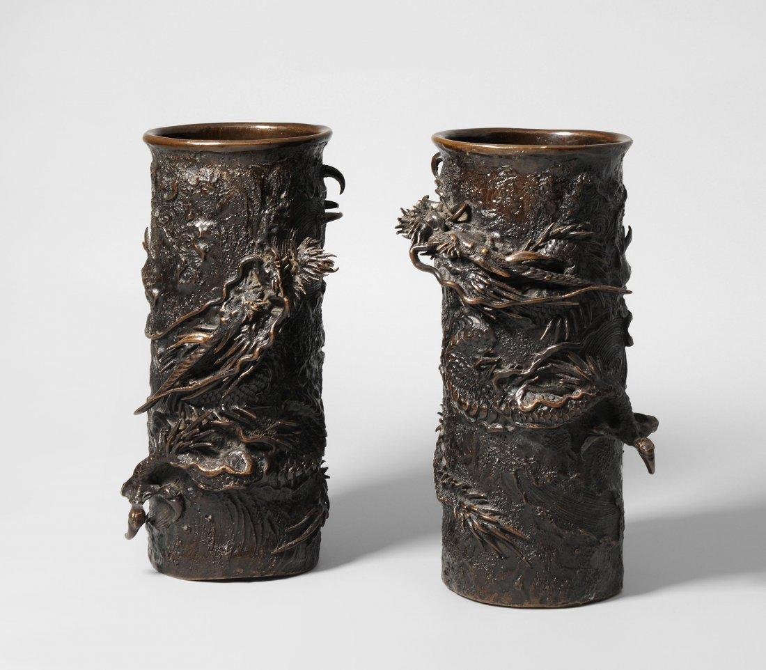 1 Paar Vasen von Kimura Toun (tätig 1. Hälfte 20.Jh.)