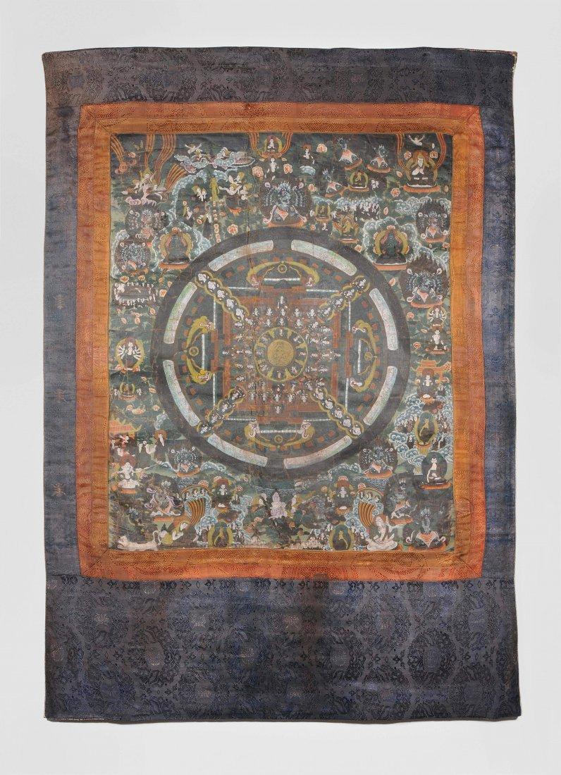 Mandala-Thangka Tibet, wohl 18.Jh. Farbe auf Leinwand.