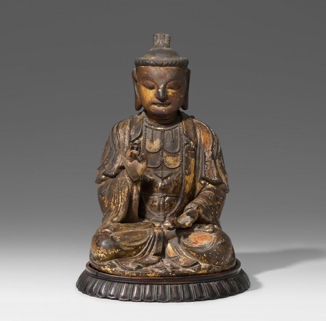 Sitzender Bodhisattva China, Ming-Dynastie. Holz,