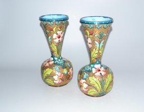 1 Paar Vasen Um/nach 1900. Islamische Keramik, Floraler