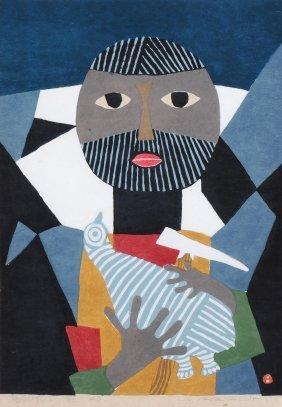 """Azechi Umetaro (1902–1999) """"tori O Idaku"""" (vogel In Den"""