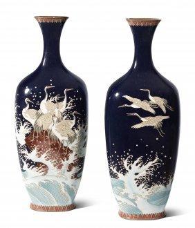 1 Paar Kleine Vasen Japan, Meiji-zeit. Email Cloisonné.