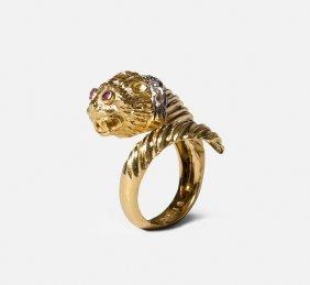 Lalaounis Diamant-ring Griechenland. 750 Gelb- Und