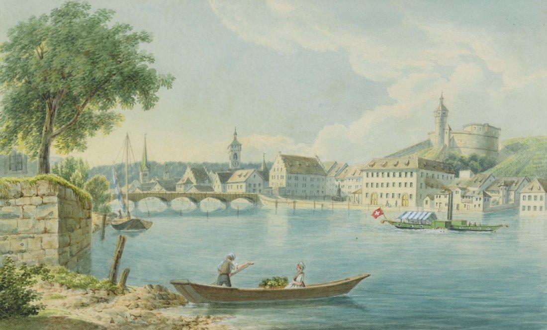 Anonym, um 1840/50 Ansicht der Stadt Schaffhausen aus