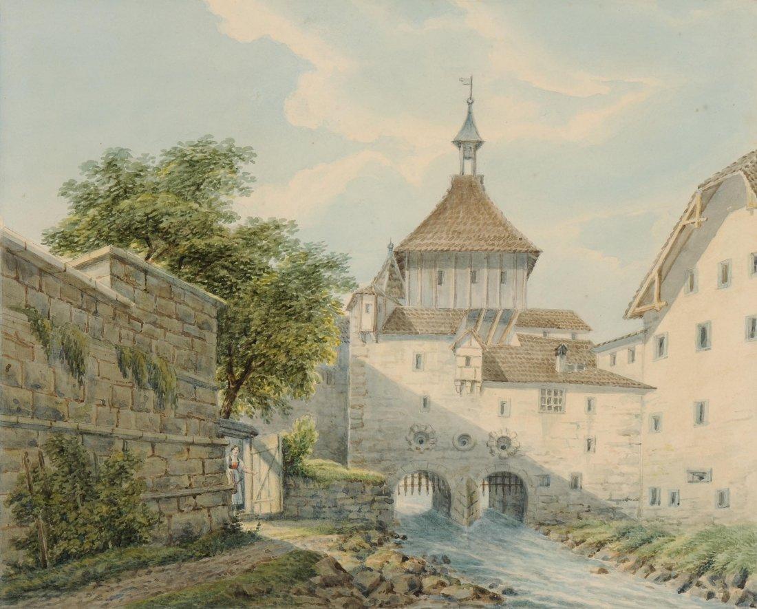 Anonym, um 1840/50 Schaffhausen, das Fallgatter am