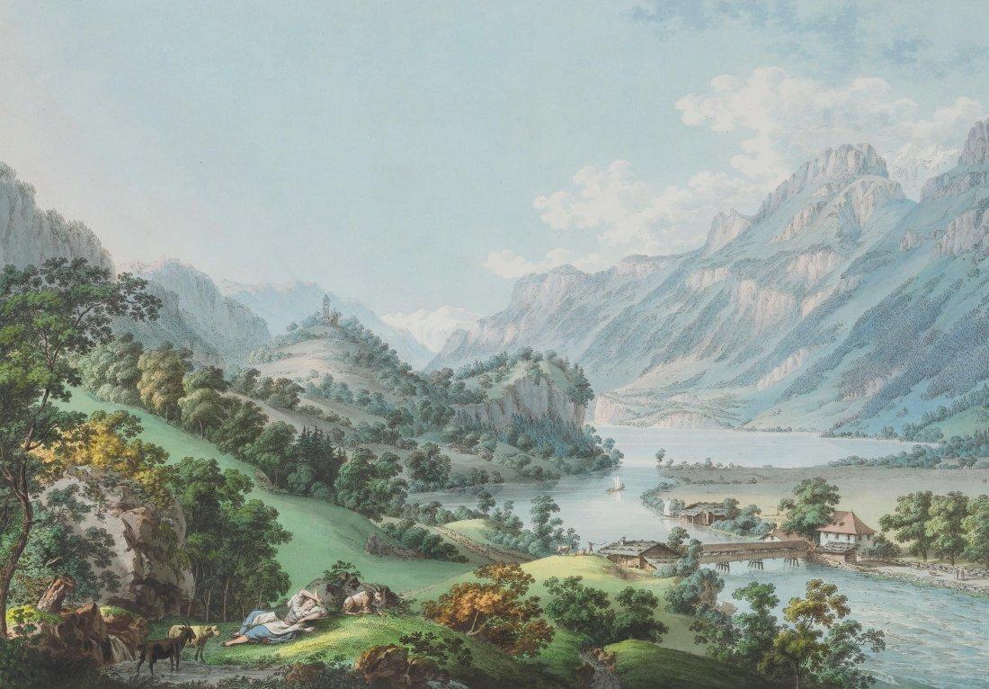 """Lory, Gabriel père (1763 Bern 1840) """"Sortie de l'Aar du"""