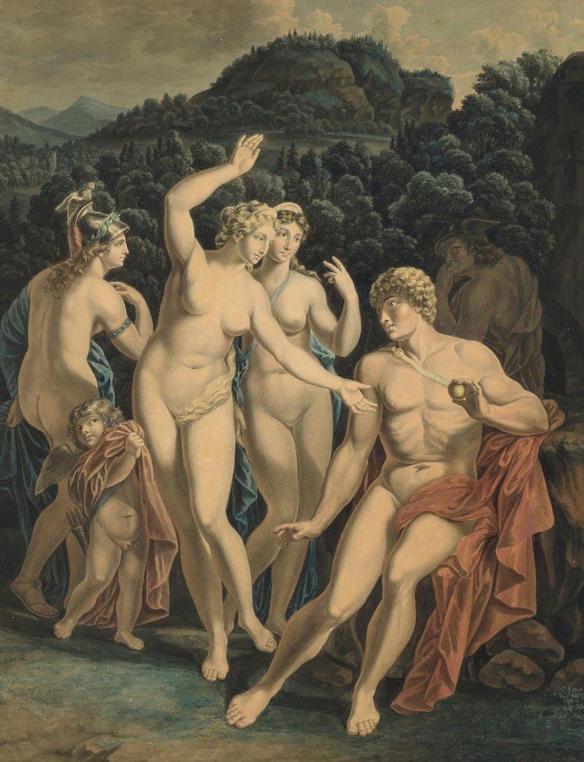 Anonym, um 1800/20 Das Urteil des Paris. Aquarell,