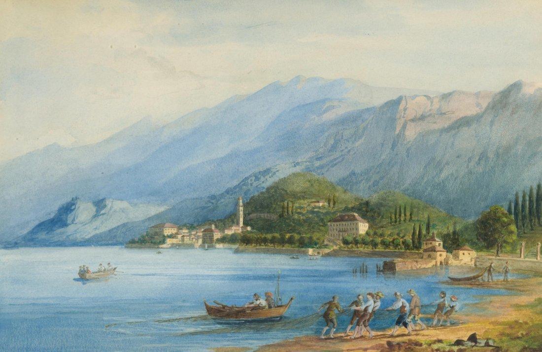 Anonym, um 1850/ 60 Ansicht von Bellagio am Comersee
