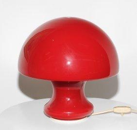Tischleuchte 1960er Jahre. Pilzförmiges Rotes Glas.