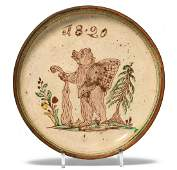 Teller, Langnau Dat. 1820. Keramik, elfenbeinfarbener