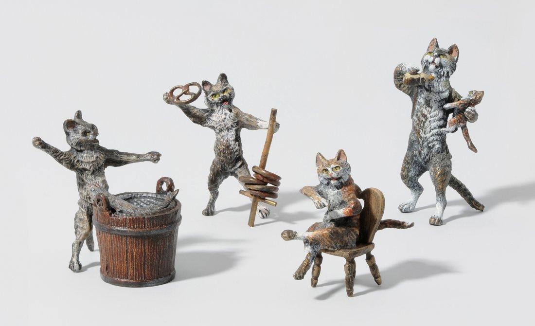 Lot: 4 Katzen Wiener Bronze, 2. Hälfte 20.Jh. Zyseliert