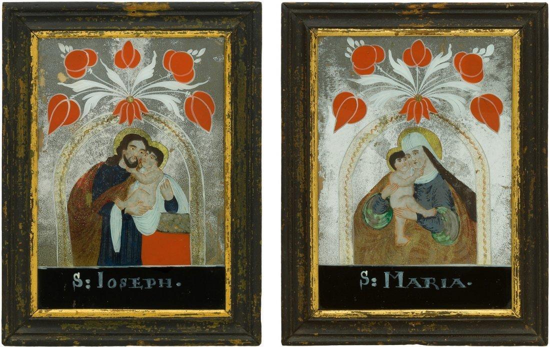 1 Paar Spiegelbilder Böhmen, Buchers, 1.Hälfte 19.Jh.