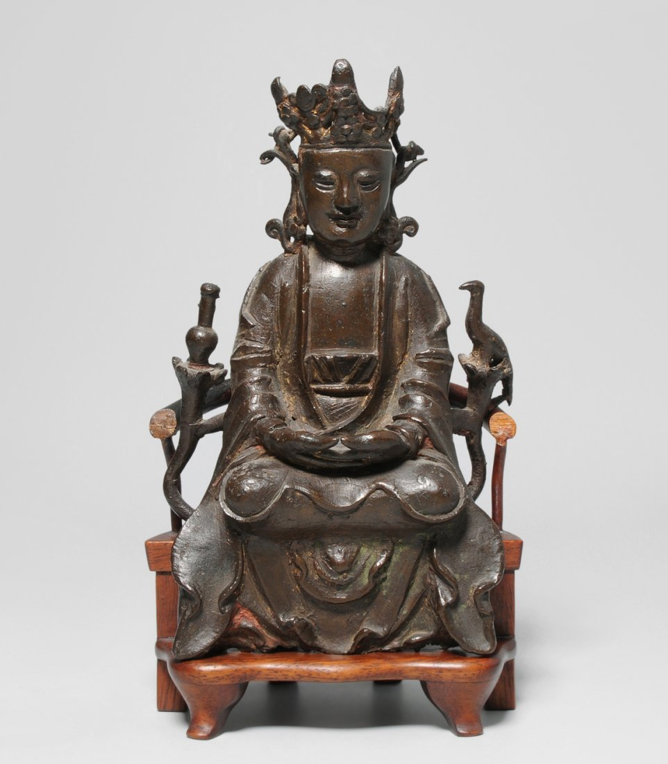 Figur China, Ming-Dynastie. Bronze. Sitzende Guanyin.