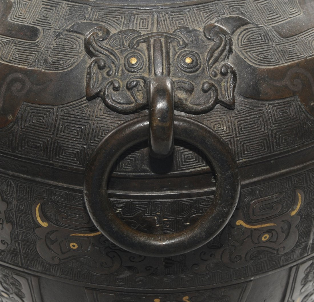 Henkelvase China, Qing-Dynastie. Bronze mit - 10
