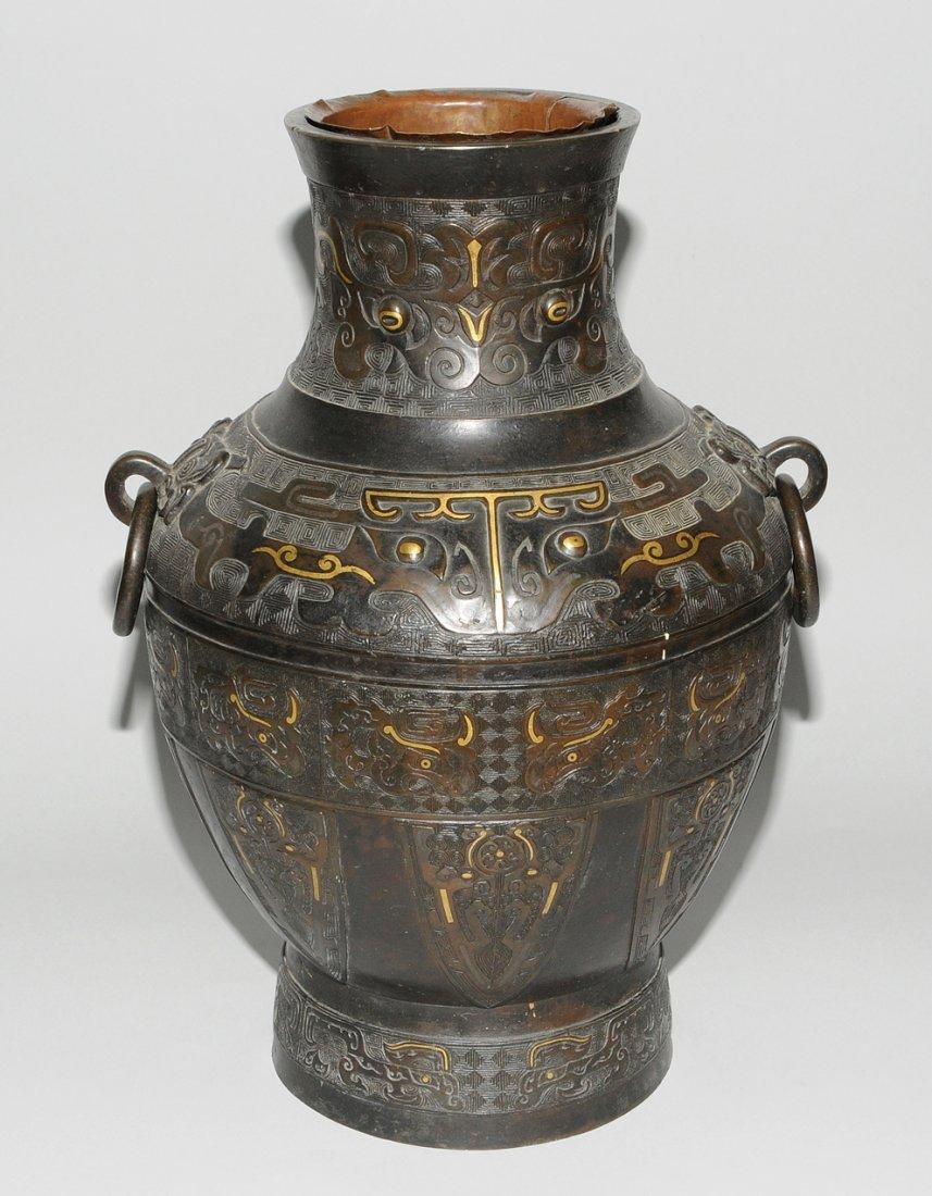Henkelvase China, Qing-Dynastie. Bronze mit - 2