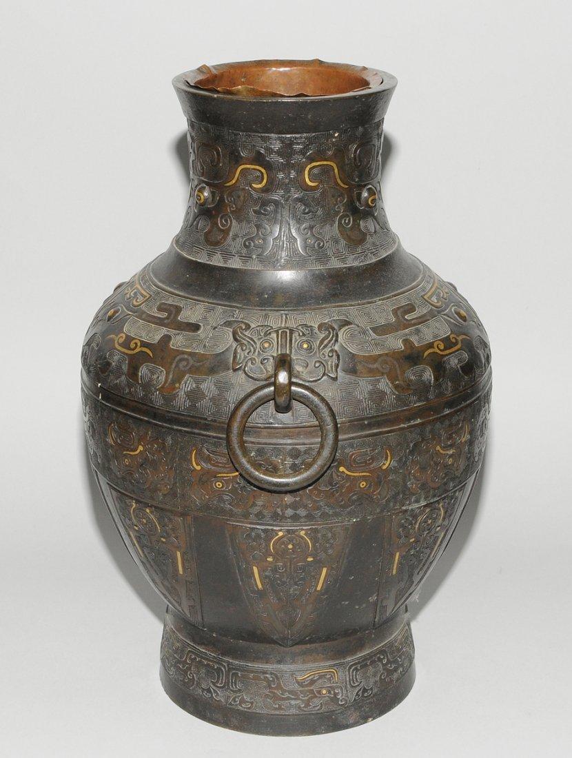 Henkelvase China, Qing-Dynastie. Bronze mit - 3