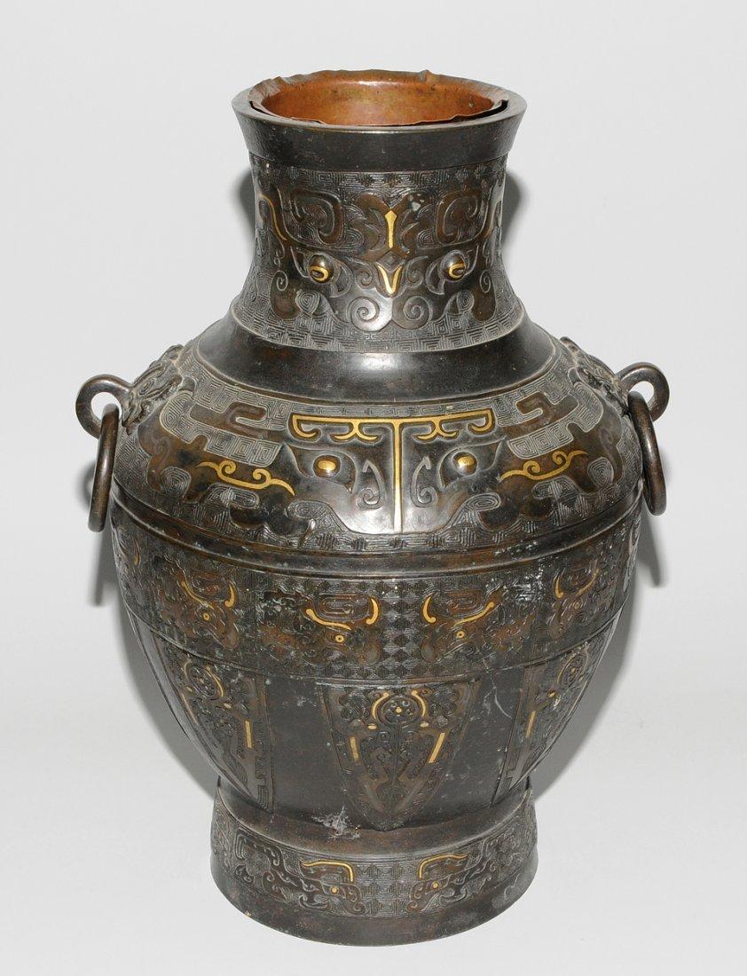 Henkelvase China, Qing-Dynastie. Bronze mit - 4