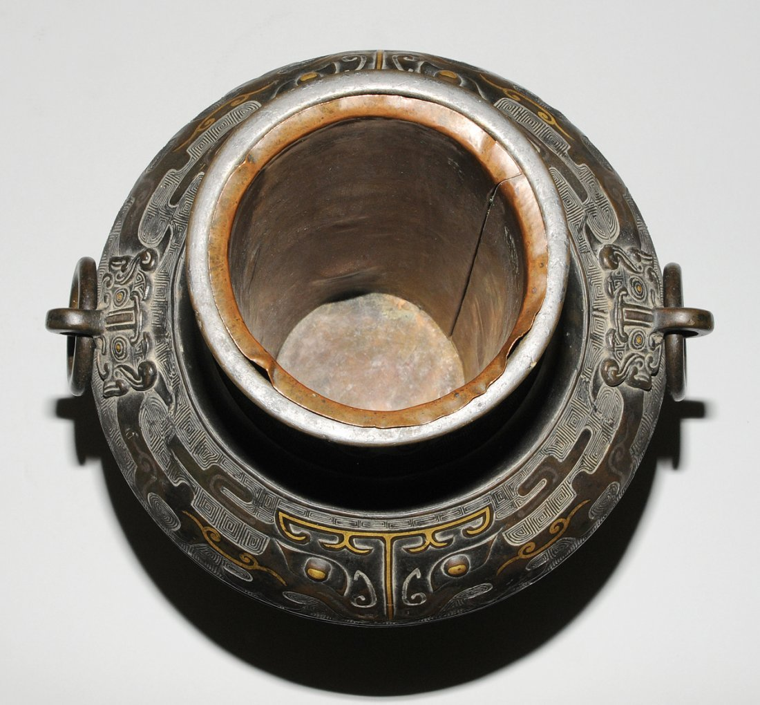 Henkelvase China, Qing-Dynastie. Bronze mit - 6
