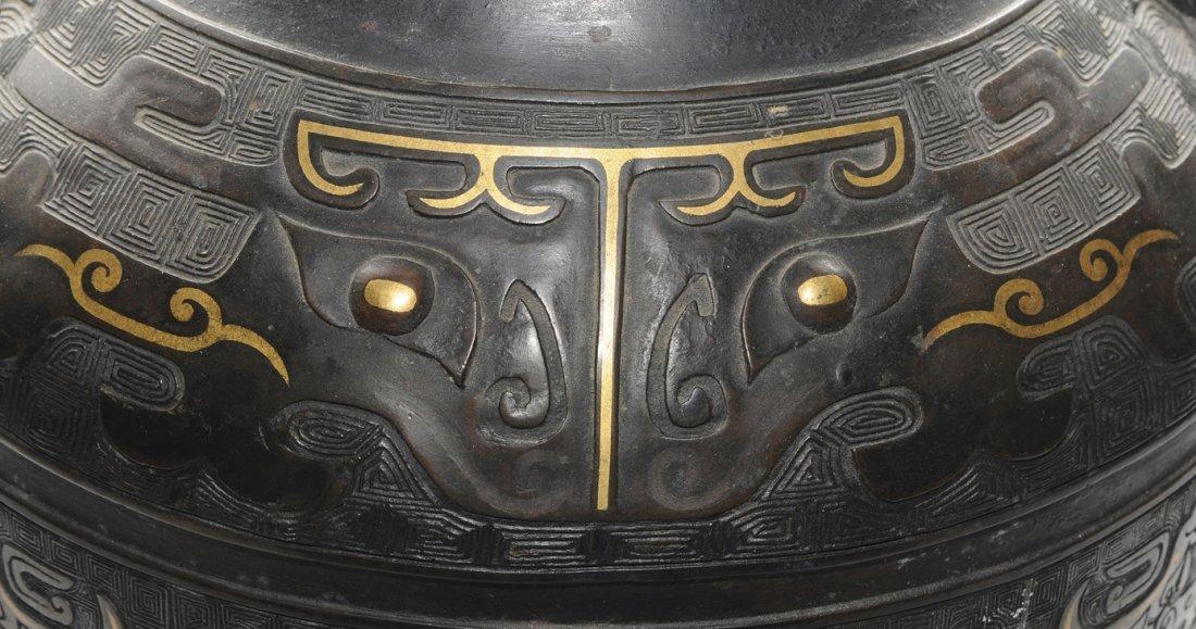 Henkelvase China, Qing-Dynastie. Bronze mit - 9