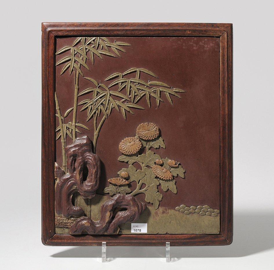 Reliefbild China, 19.Jh. Speckstein, geschnitzt.