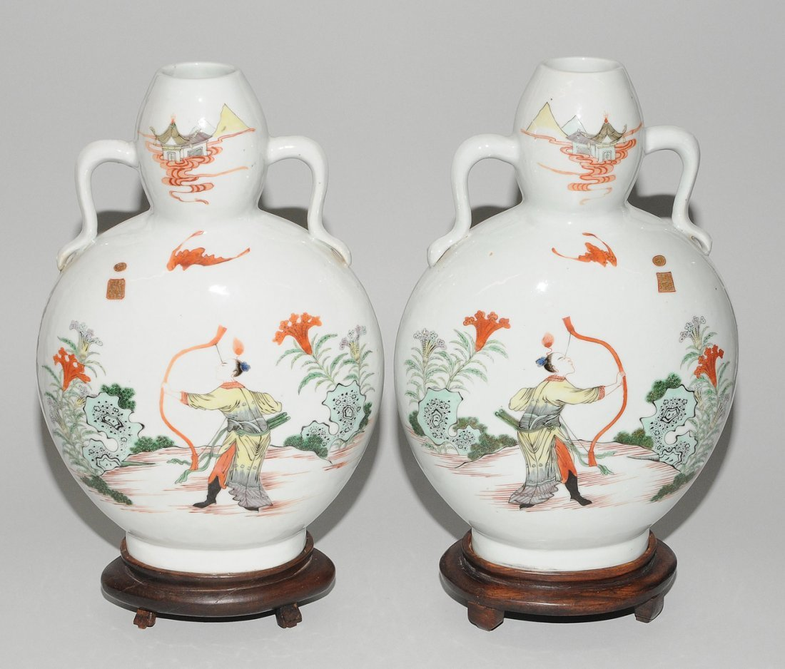 "1 Paar Mondflaschen, ""bian hu""  China, 19./20.Jh. - 3"