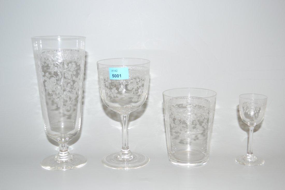Glserservice Um/nach 1900. Farbloses Glas, floraler