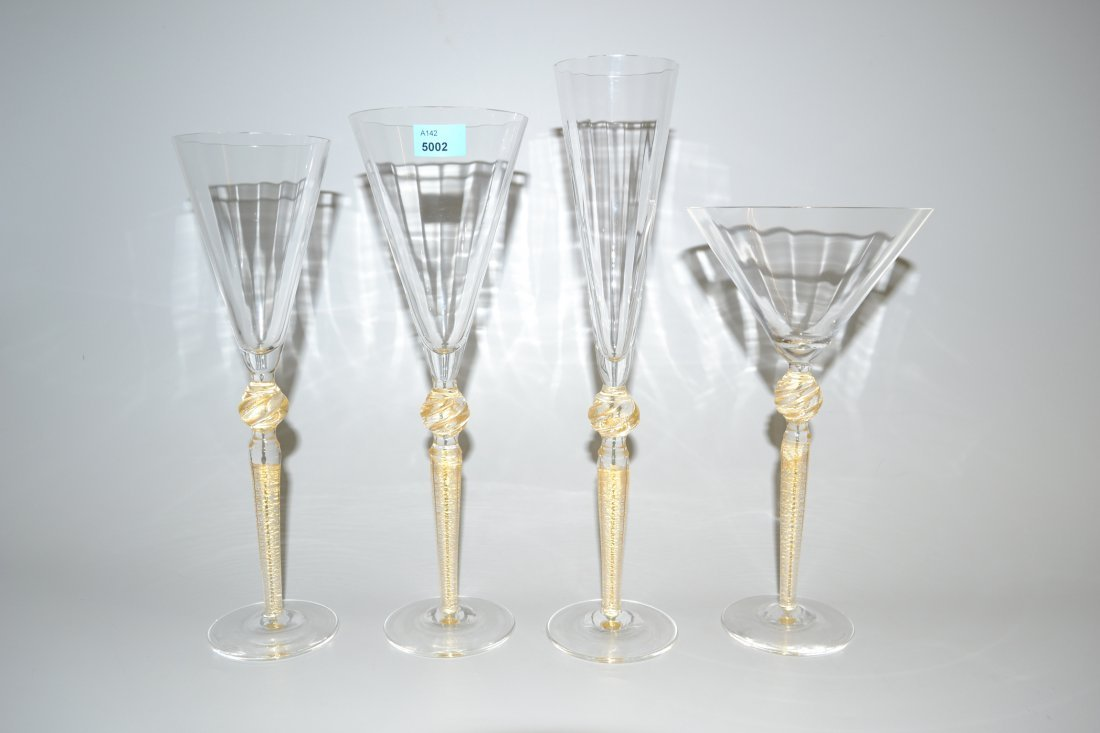 Glserservice, Murano 20.Jh. Farbloses, optisches Glas,