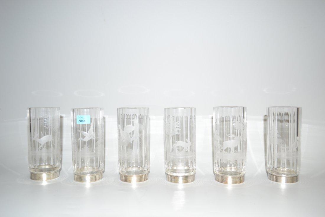 6 Jagdglser 20.Jh. Farbloses Kristallglas, facettiert