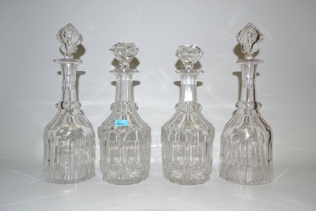 Lot: 2 Paar Karaffen Um 1900. Mit Stpsel. Farbloses
