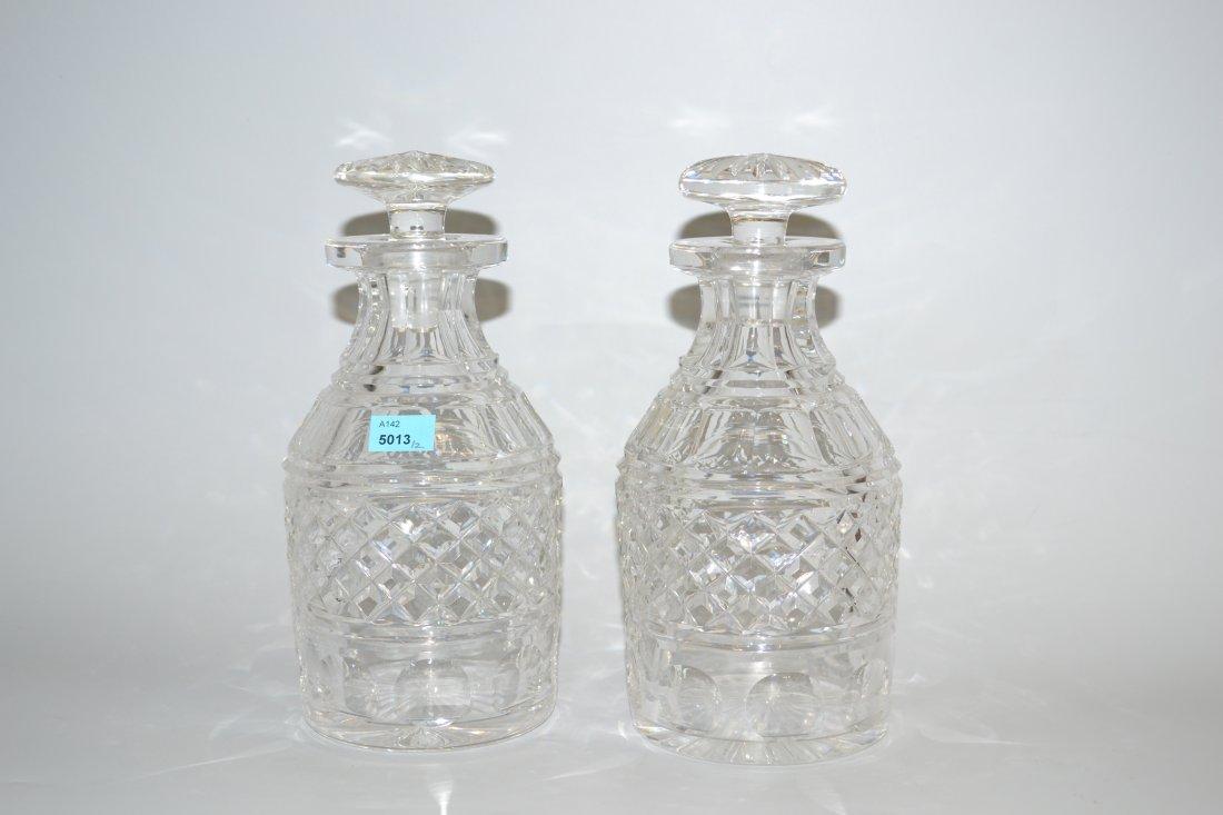 1 Paar Karaffen Um 1900. England. Farbloses