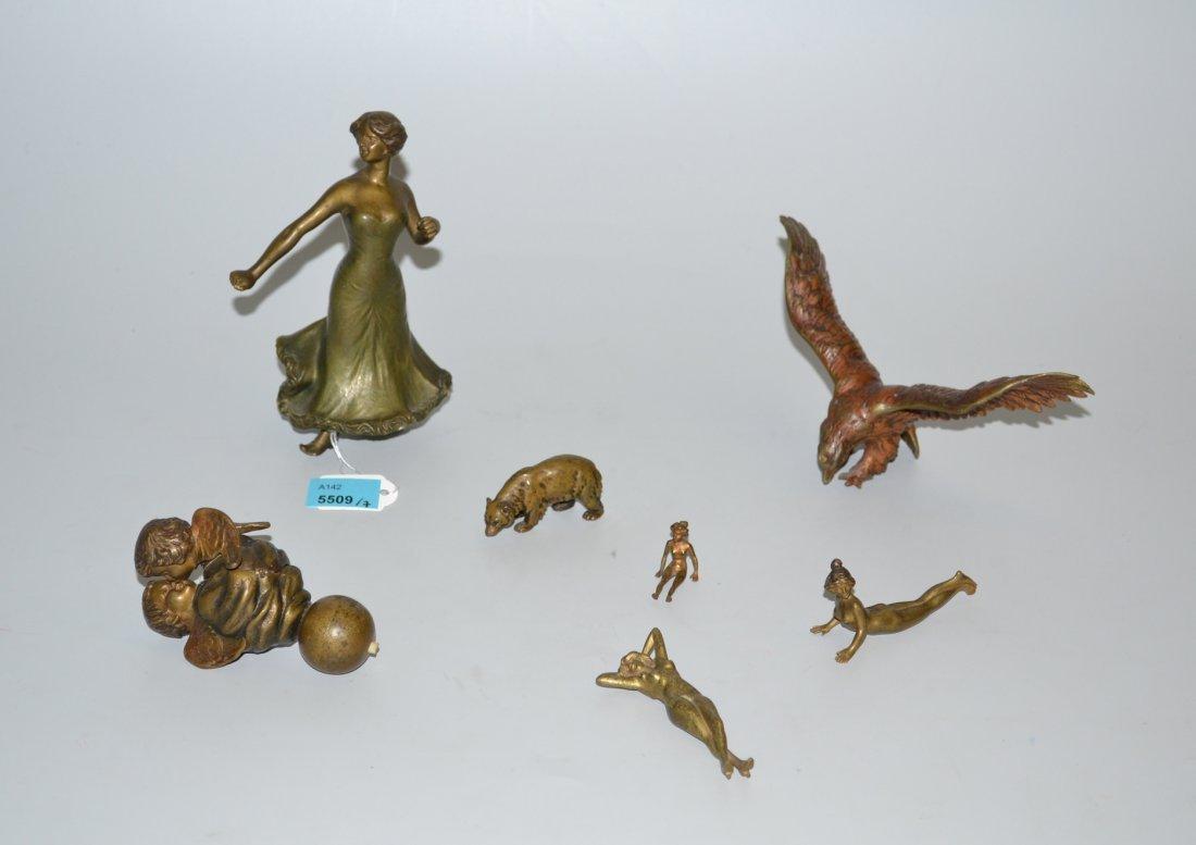 Lot: 7 Figrchen Um/Nach 1900. Bronze. Tnzerin, Adler,