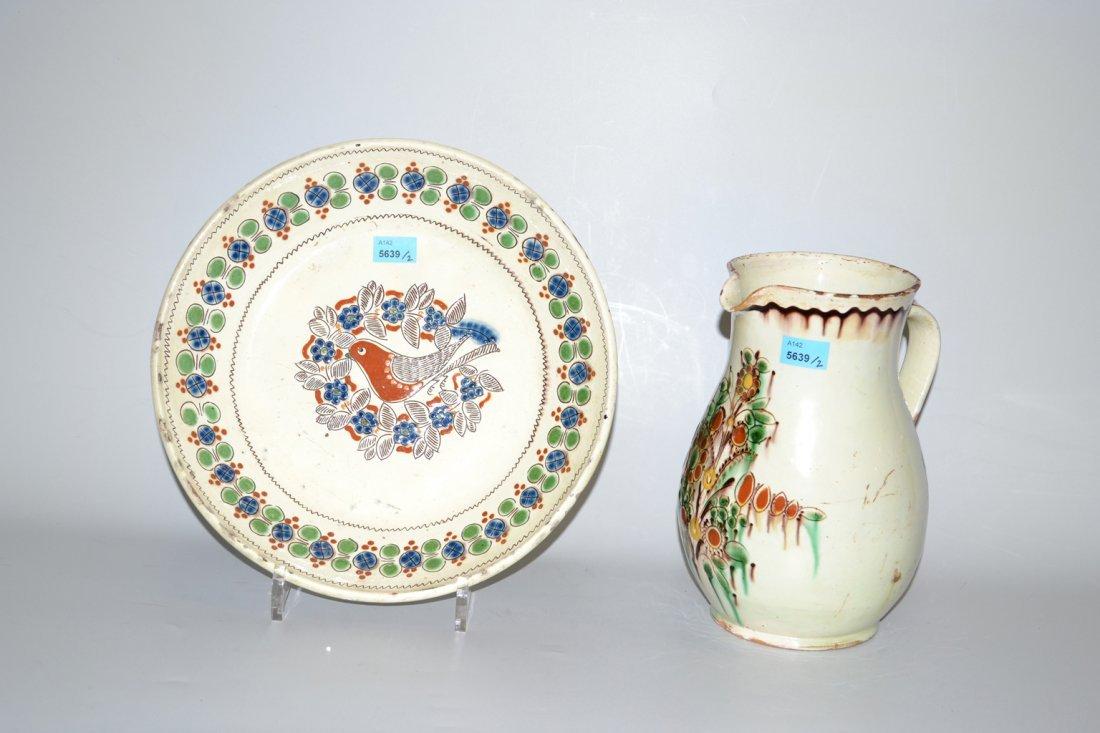 Lot: Krug und Platte Heimberg, 19.Jh. Keramik,