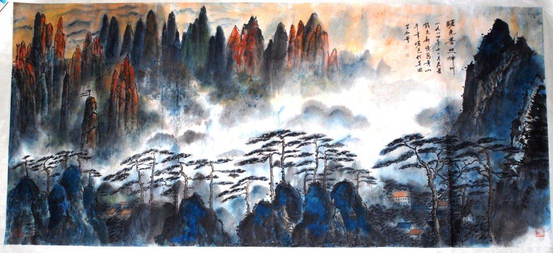 Grosse Malerei China. Tusche und Farbe auf Papier.