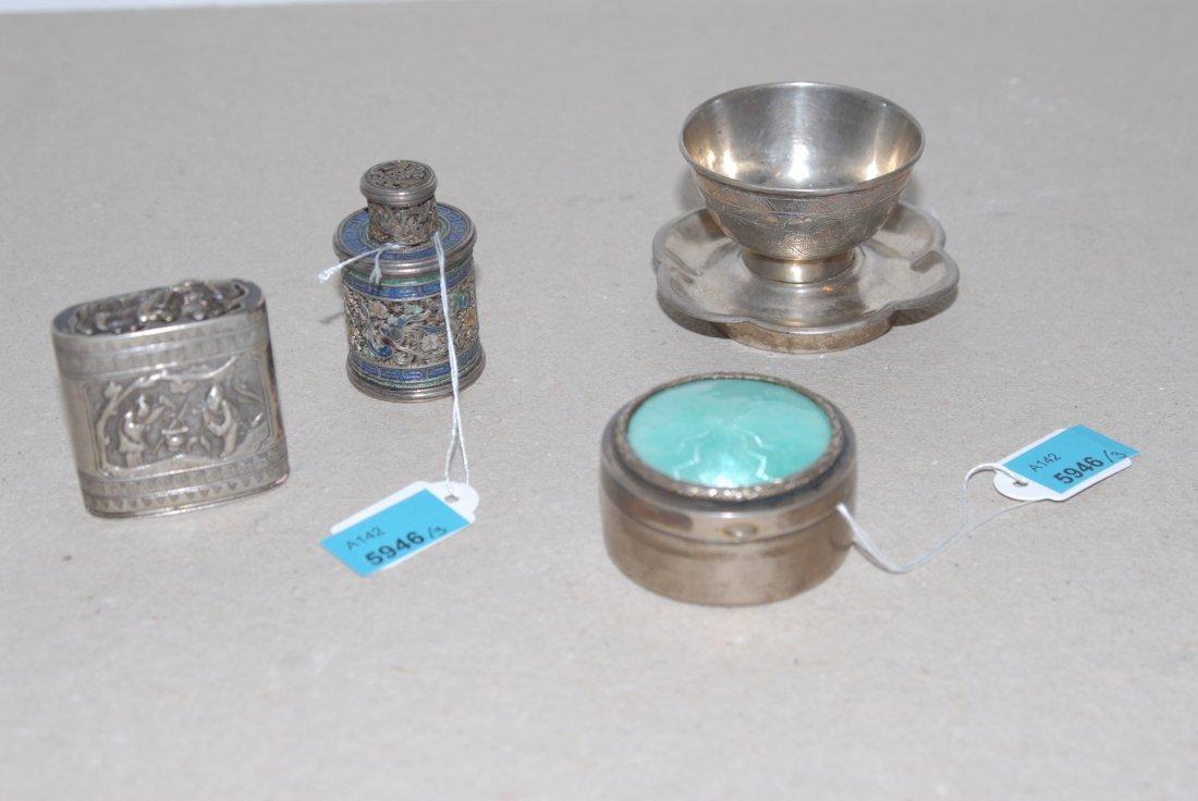 Lot: 3 Dschen und 1 Koppchen China. Silber und