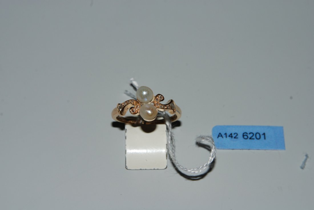 Naturperlen-Diamant-Ring Ende 19.Jh. 750 Rotgold. 2