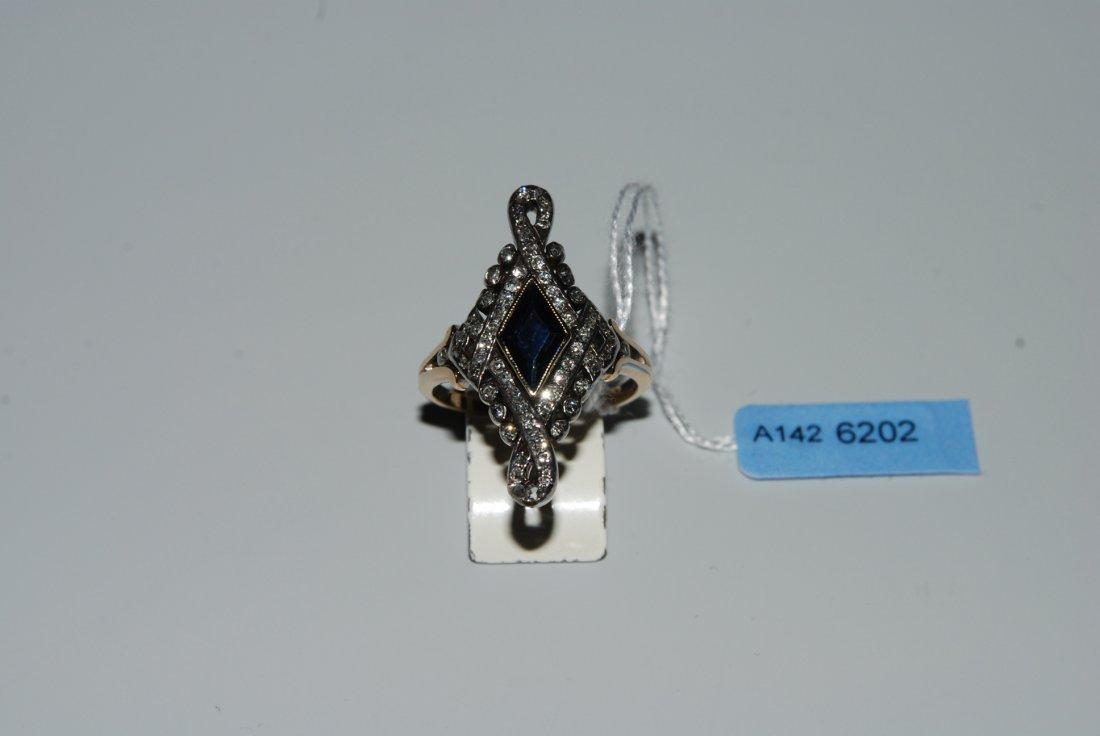 Saphir-Diamant-Ring.  Im Stil des 19.Jh. 750