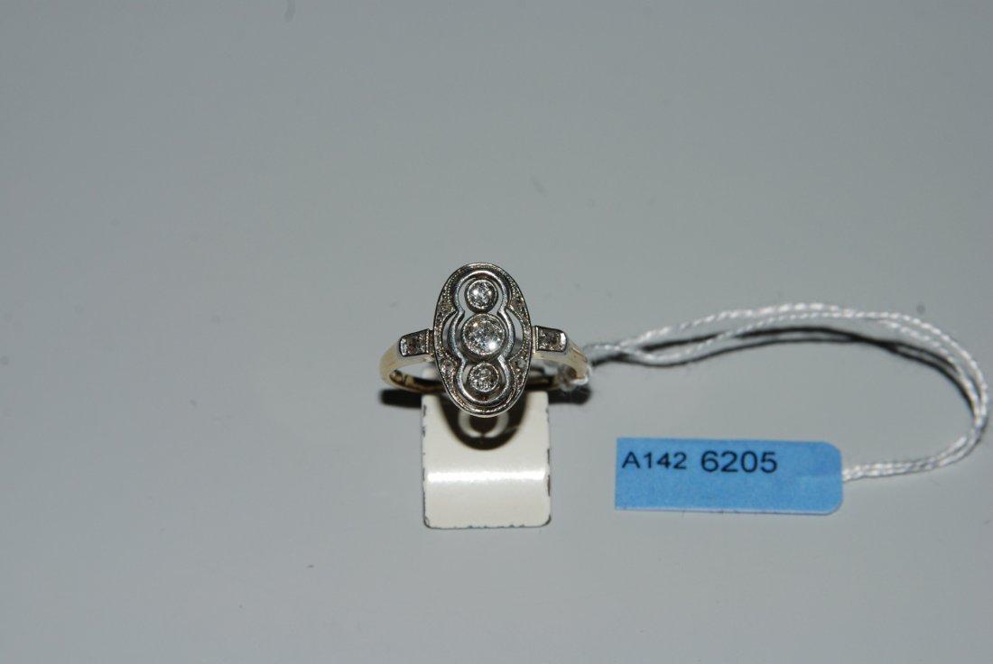 Diamant-Ring Art Dco. 585 Gelbgold/Platin. 3