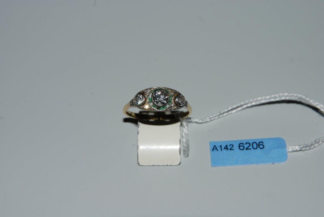 Diamant-Ring Art Dco. 750 Gelbgold/Platin. 3