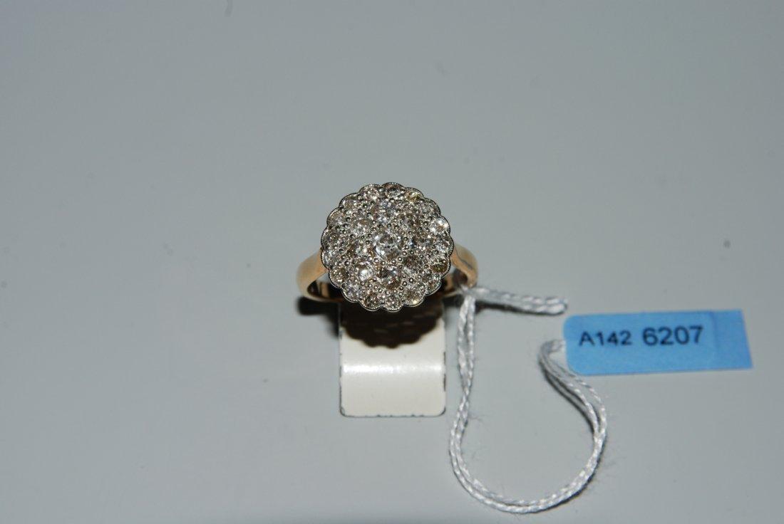 Diamant-Ring Um 1910. 750 Gelbgold/Platin. Rosette,