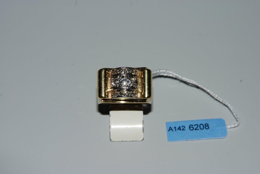 Diamant-Ring 1940er Jahre. 750 Gelbgold/Platin. 15