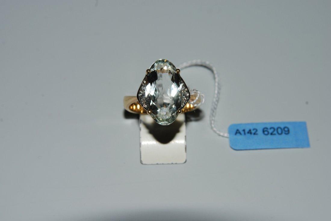 Aquamarin-Diamant-Ring 750 Gelb-/Weissgold. 1 ovaler