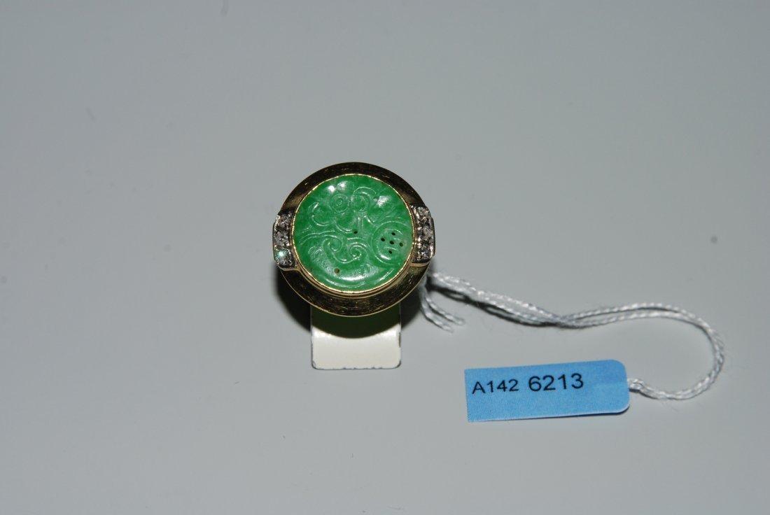 Jade-Diamant-Ring 750 Gelbgold. Runde, grne, floral