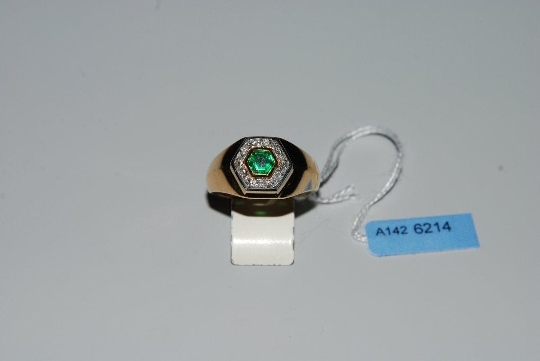 Smaragd-Diamant-Ring Meister. 750 Gelb-/Weissgold. 1