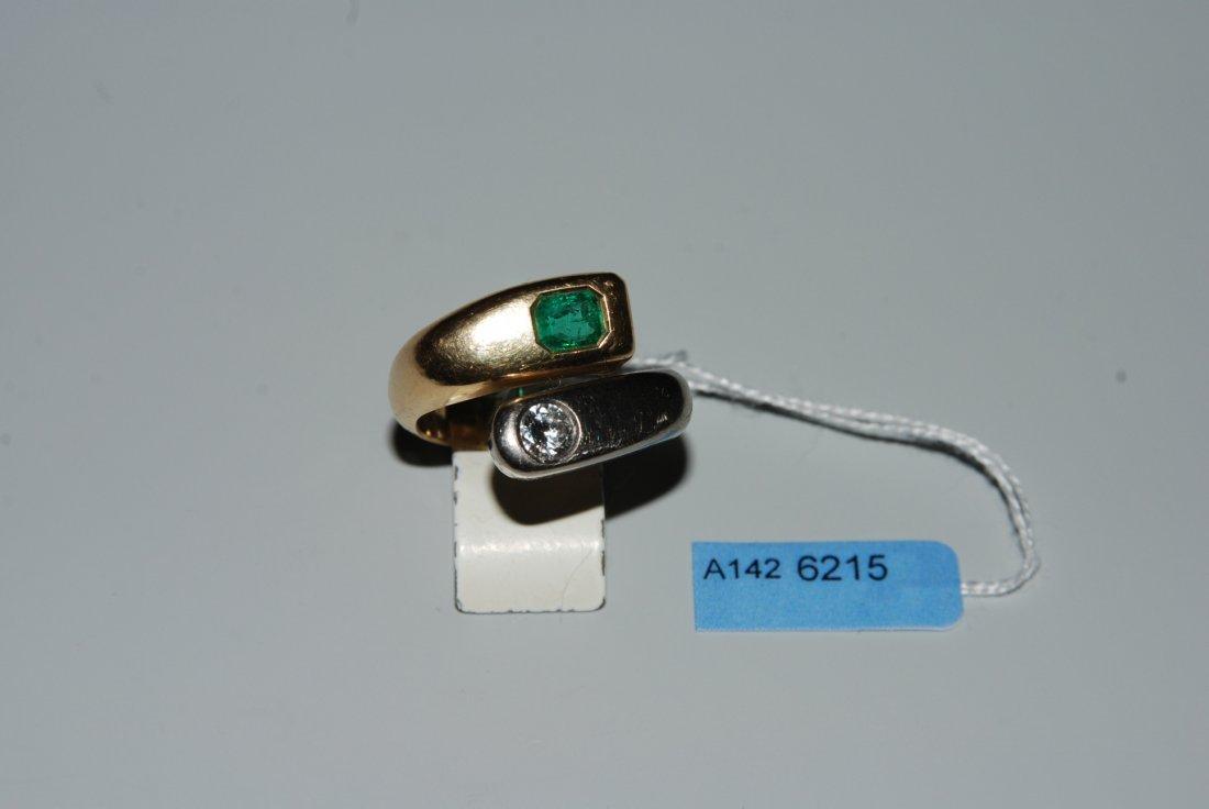 Brillant-Smaragd-Ring 750 Gelb-/Weissgold. 1 Smaragd im