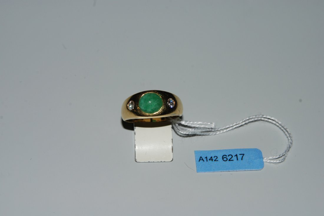 Smaragd-Diamant-Ring 750 Gelbgold. 1 Smaragd-Cabochon